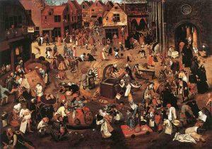 El combate entre Don Carnal y Doña Cuaresma. Pieter Brueghel El Joven.