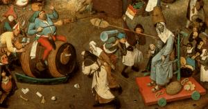 Detalle. El combate entre Don Carnal y Doña Cuaresma. Pieter Brueghel El Joven.